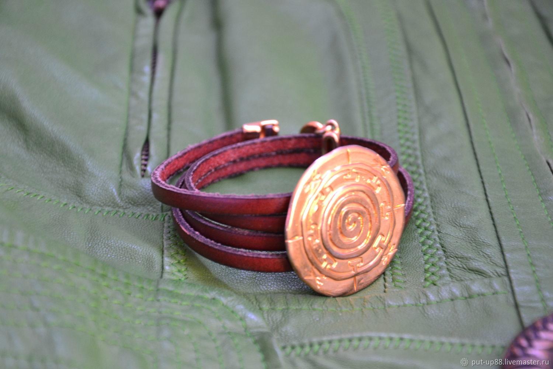 Кожаный браслет с диском, Браслет из бусин, Астрахань,  Фото №1