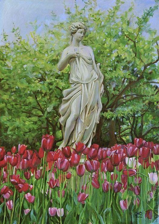 Пейзаж ручной работы. Ярмарка Мастеров - ручная работа. Купить картина маслом Статуя в парке (70х50). Handmade. Ярко-зелёный