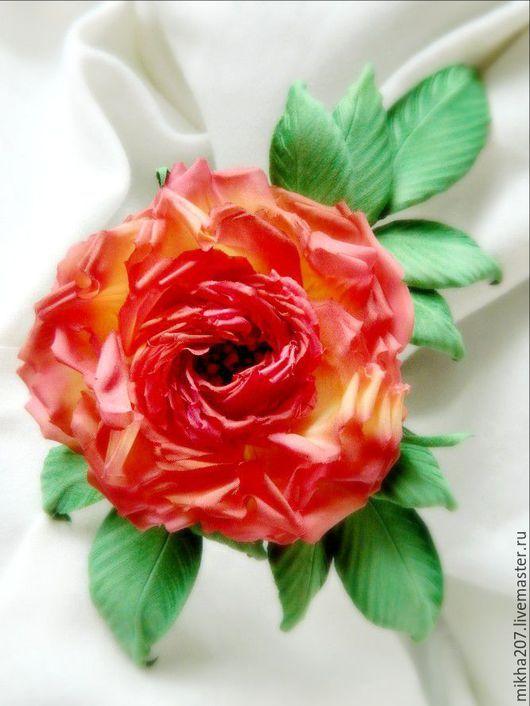 """Цветы ручной работы. Ярмарка Мастеров - ручная работа. Купить Роза из шелка """"Краса осени"""". Handmade. Ярко-красный"""