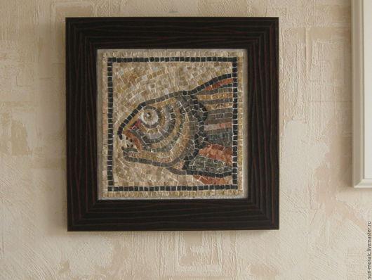"""Животные ручной работы. Ярмарка Мастеров - ручная работа. Купить Картина-мозаика """"Хищная рыба"""" из камня. Handmade. Мозаика из камня"""