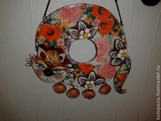 Подвески ручной работы. Ярмарка Мастеров - ручная работа. Купить кошка бублик с маками.. Handmade. Оранжевый, цветы, подарок девушке
