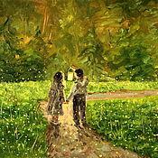 Картины и панно handmade. Livemaster - original item Oil painting on canvas. Fireflies first love.. Handmade.