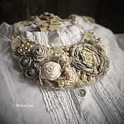 Украшения handmade. Livemaster - original item Collar Tea roses for mom. Handmade.