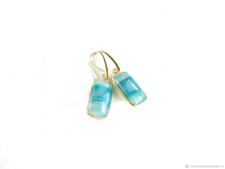 Green earrings with agate in gold'Forest tale' earrings 2020, Earrings, Moscow,  Фото №1