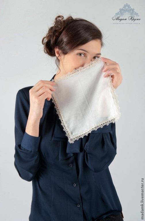 Носовые платочки ручной работы. Ярмарка Мастеров - ручная работа. Купить Кружевной шелковый носовой платочек кружево Фриволите. Handmade.