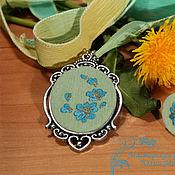 Украшения handmade. Livemaster - original item Copy of Embroidered pendant Ailor (oval). Handmade.