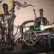 Дизайн и реклама ручной работы. Ярмарка Мастеров - ручная работа Арт.24   Кованые подсвечники с бутылочницей. Handmade.