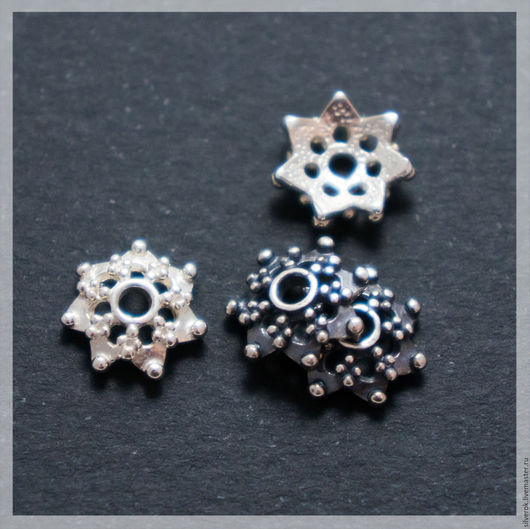 Для украшений ручной работы. Ярмарка Мастеров - ручная работа. Купить Шапочка для бусин Звезда серебро 925 проба. Handmade.