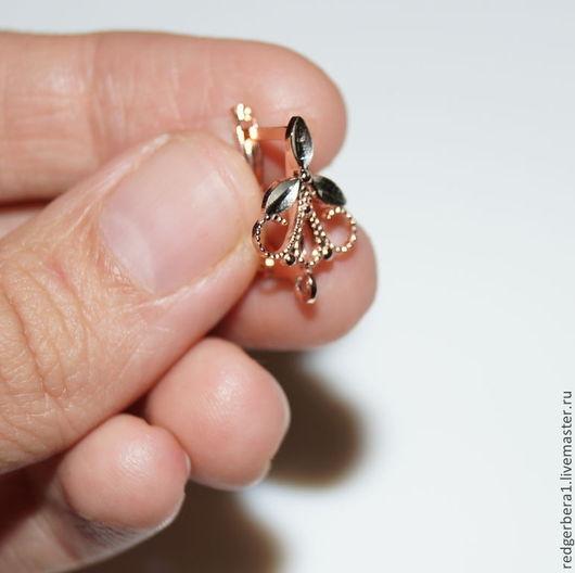 """Для украшений ручной работы. Ярмарка Мастеров - ручная работа. Купить Швензы с алмазной гранью """"Трилистник"""" - золочение 585 пробы. Handmade."""