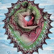 Аксессуары handmade. Livemaster - original item Shawl knitted woolen warm openwork cape scarf pink green. Handmade.