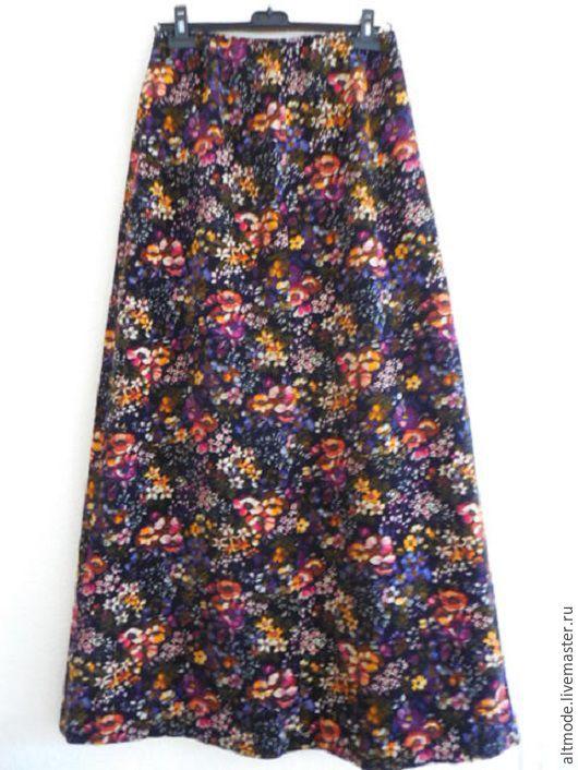 Одежда. Ярмарка Мастеров - ручная работа. Купить Винтажная юбка в пол, р.46-48, бархат, цветы, хиппи, 70-е, BoHo. Handmade.
