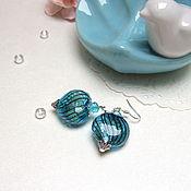 Украшения handmade. Livemaster - original item Glass Transparent Earrings Heart Turquoise Chocolate White Flowers. Handmade.