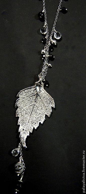 Колье, бусы ручной работы. Ярмарка Мастеров - ручная работа. Купить Колье с листьями Белая Береза. Шпинель, агат, горный хрусталь, серебро. Handmade.