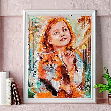 Картины и панно ручной работы. Ярмарка Мастеров - ручная работа Лисонька  - картина с лисой - портрет девочки маслом. Handmade.