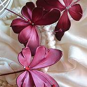Украшения handmade. Livemaster - original item Brooch silk Butterfly Marsala. Handmade.