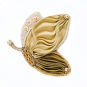 Украшения handmade. Livemaster - original item Brooch Butterfly with Shibori silk Golden. Handmade.