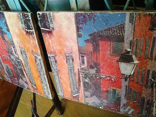 Город ручной работы. Ярмарка Мастеров - ручная работа. Купить Панно деревянное парное Итальянская улочка 20х20 см W0360. Handmade.