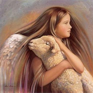 """Картины и панно ручной работы. Ярмарка Мастеров - ручная работа Картина """"Девочка-ангел и ягненок"""". Handmade."""