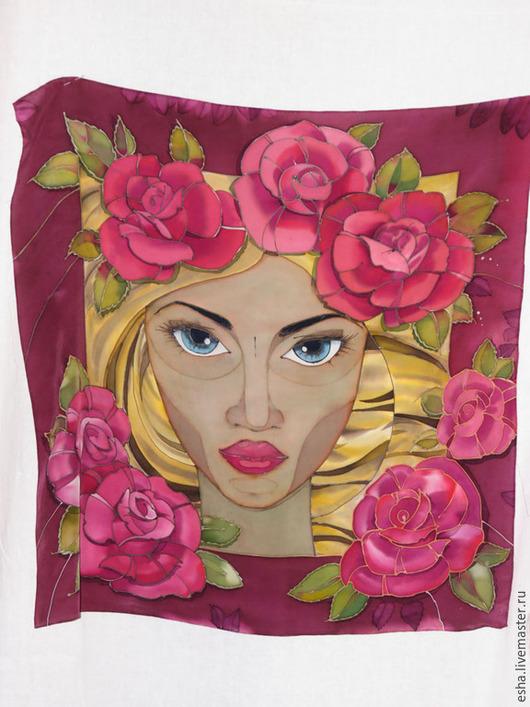 """Шали, палантины ручной работы. Ярмарка Мастеров - ручная работа. Купить Шелковый платок батик """"Роза Марена"""", ручная роспись. Handmade."""