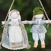"""Народная кукла """"Неразлучники""""( голубой, бежевый, зеленый)"""