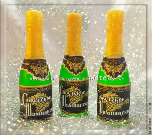 """Мыло ручной работы. Ярмарка Мастеров - ручная работа. Купить Мыло """"Шампанское большое"""". Handmade. Зеленый, Новый Год, мыло"""