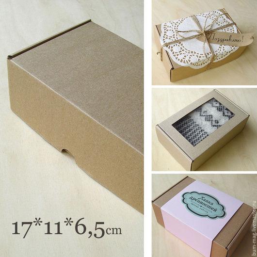 Упаковка ручной работы. Ярмарка Мастеров - ручная работа. Купить Коробка (17х11х6,5см) с ушками, бурый микрогофрокартон. Handmade. Упаковка