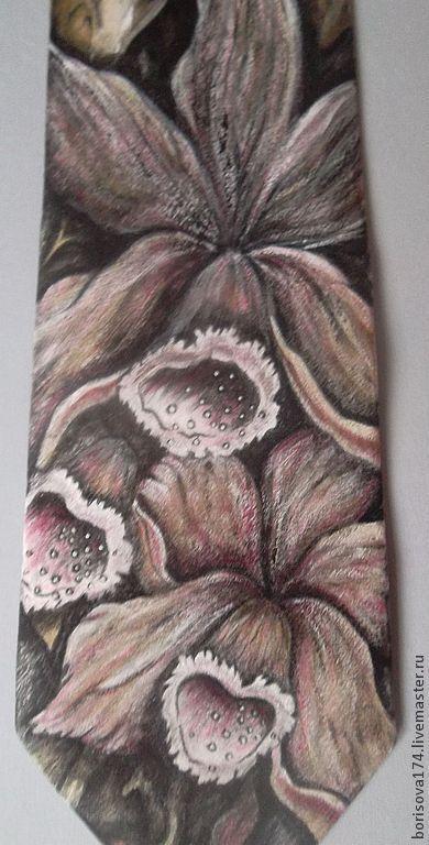 """Галстуки, бабочки ручной работы. Ярмарка Мастеров - ручная работа. Купить Галстук женский """"Орхидея"""". Handmade. Серый, галстук с росписью"""