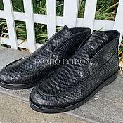 Обувь ручной работы handmade. Livemaster - original item Black boots from Python. Handmade.