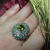 handmade. Livemaster - original item Ring: Emerald ring with chrysolite. Handmade.