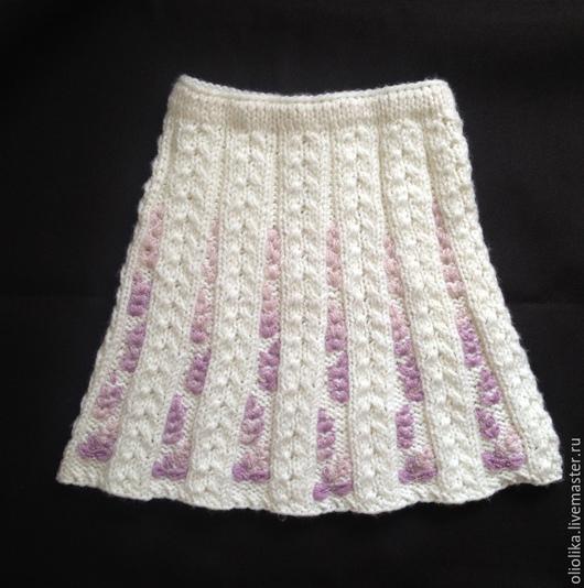 Одежда для девочек, ручной работы. Ярмарка Мастеров - ручная работа. Купить Юбка для девочки вязаная белая на 6-8 л.. Handmade.