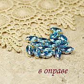 Материалы для творчества handmade. Livemaster - original item Glass rhinestone 10h5 mm aquamarine in gold and silver rims. Handmade.