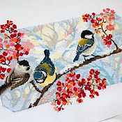 Подарки к праздникам ручной работы. Ярмарка Мастеров - ручная работа Зимняя вышивка «Зимний день». Handmade.