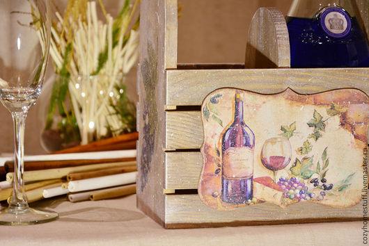 Корзины, коробы ручной работы. Ярмарка Мастеров - ручная работа. Купить Короб для вина «Виноградный мотив». Handmade. Коричневый, хранение