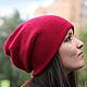 Цикламен, шапка шарф, зимние шапки, женские шапки вязаные, трикотажные шапки, модные шапки, розовый, фиалка, красный, шапка носок, шапка чулок