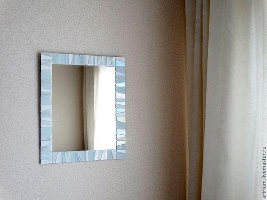 """Зеркала ручной работы. Ярмарка Мастеров - ручная работа. Купить Зеркало в мозаичном обрамлении """"Нежность"""". Handmade. Белый, мозаика из стекла"""