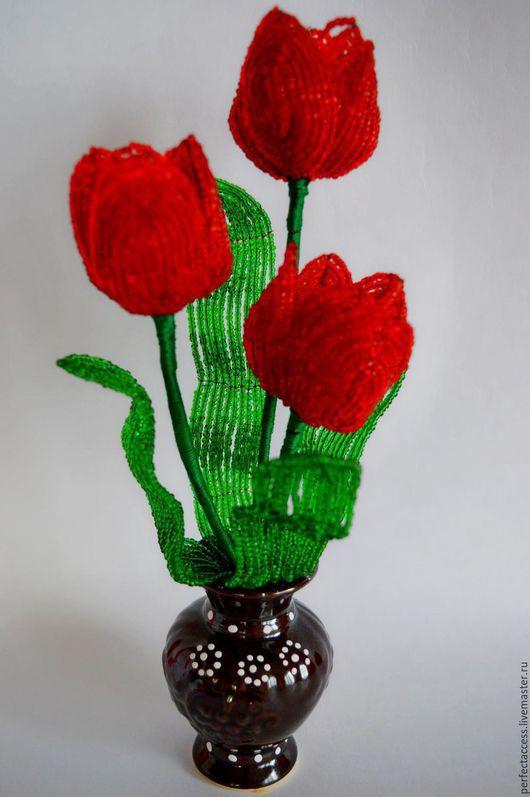 Цветы ручной работы. Ярмарка Мастеров - ручная работа. Купить Тюльпаны. Handmade. Ярко-красный, цветы, букет
