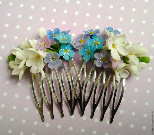 Сирень в волосах,гребень с цветками сирени,гребень с цветками незабудки,гребень ручной работы.