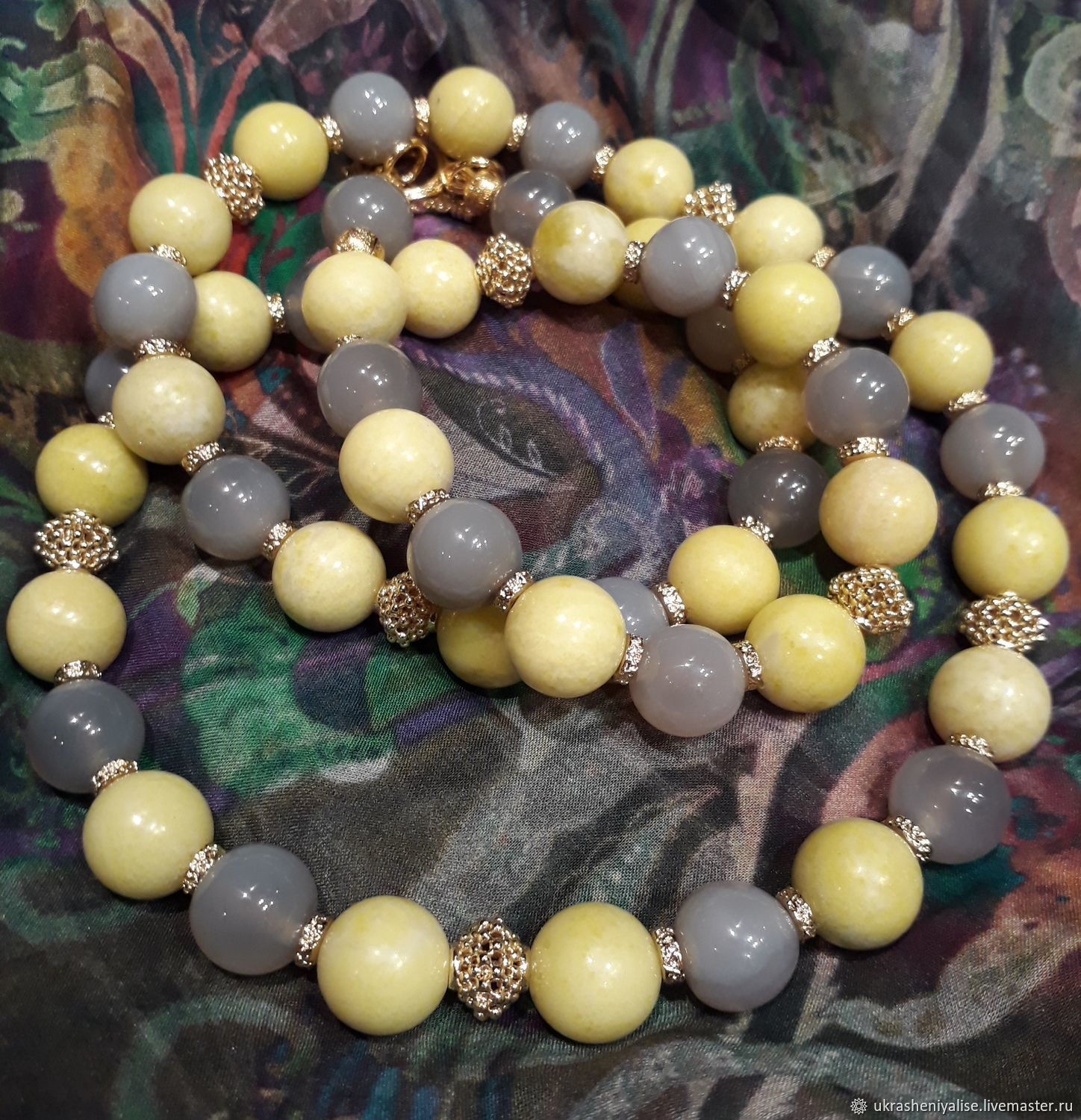 'Linden alley' lemon Jasper and grey agate beads, Necklace, Moscow,  Фото №1