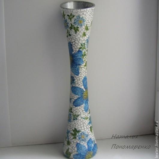 Вазы ручной работы. Ярмарка Мастеров - ручная работа. Купить Вазы ручной работы. Стеклянная ваза  Голубые цветы. Handmade.