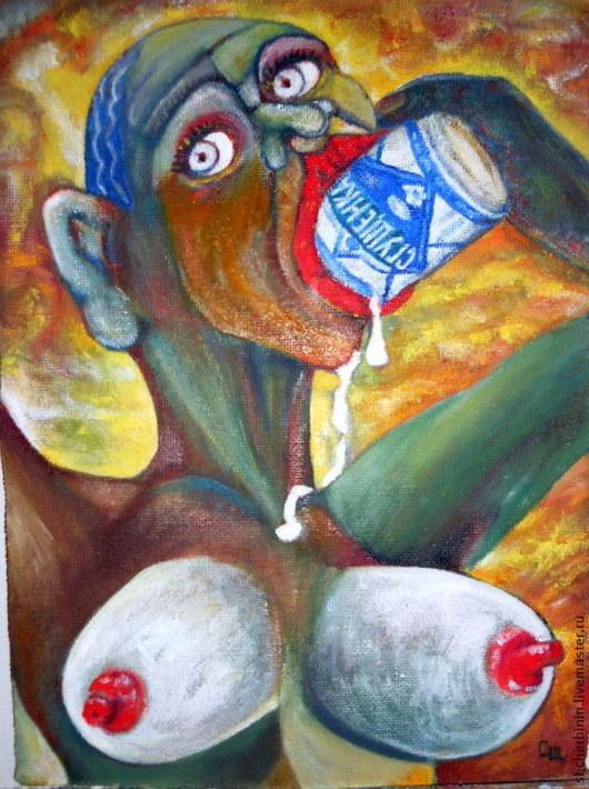 Ню ручной работы. Ярмарка Мастеров - ручная работа. Купить картина Девушка с сгущёнкой. Handmade. Картина маслом, банка, Живопись