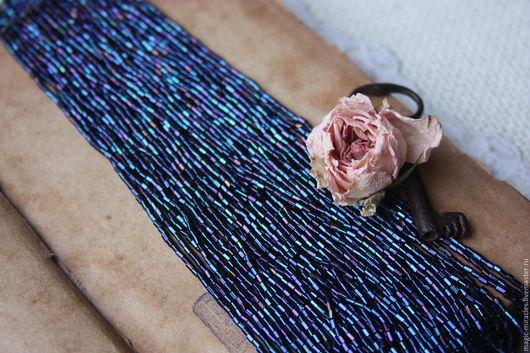 Для украшений ручной работы. Ярмарка Мастеров - ручная работа. Купить Антикварный бисер тубы - blue Iris. Handmade. Синий