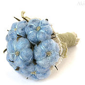Цветы и флористика handmade. Livemaster - original item Small Bouquet in a rustic style blue cotton miniature. Handmade.