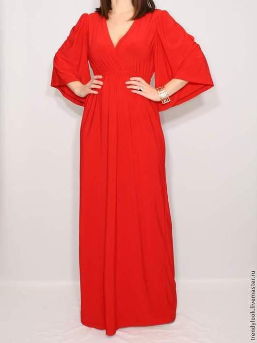 Платья ручной работы. Ярмарка Мастеров - ручная работа. Купить Длинное Платье кимоно Красное платье в пол. Handmade. кимоно