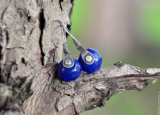 """Серьги ручной работы. Ярмарка Мастеров - ручная работа. Купить Серьги """"Грани""""(серебро 925, сапфиры). Handmade. Тёмно-синий"""