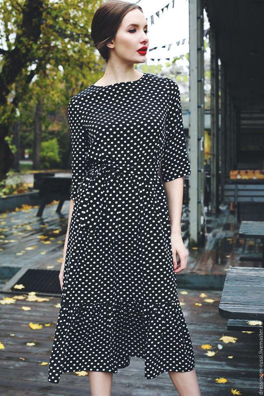 Платья ручной работы. Ярмарка Мастеров - ручная работа. Купить Платье в горох. Handmade. Комбинированный, платье на лето, платье в горошек