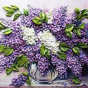 Картины и панно handmade. Livemaster - original item Picture ribbons Happy lilac. Handmade.