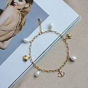 Украшения handmade. Livemaster - original item Metal anklet with Pearl`s. Handmade.