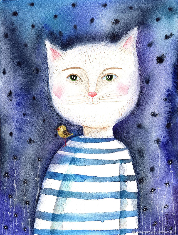 """Животные ручной работы. Ярмарка Мастеров - ручная работа. Купить Акварель """"Морской кот обыкновенный"""". Handmade. Живопись, море, иллюстрация"""