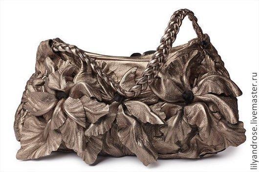 Женские сумки ручной работы. Ярмарка Мастеров - ручная работа. Купить Кожаная сумка - клатч металлик. Handmade. Коричневый