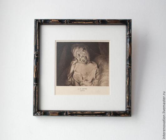 """Люди, ручной работы. Ярмарка Мастеров - ручная работа. Купить """"Сильвия - ню"""" английская жанровая гравюра 18 века в бамбуковой раме.. Handmade."""